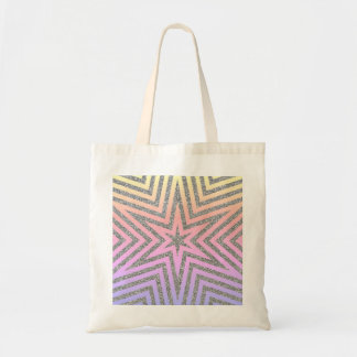 Glitter Effect Silver Stars Pink Budget Tote Bag