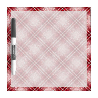 Glitter Effect Tartan in Red & Pink Dry Erase Whiteboards