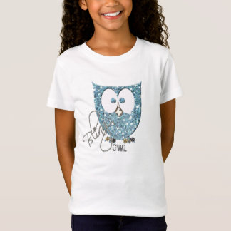 Glitter (Faux) Blue Bling Owl T-Shirt