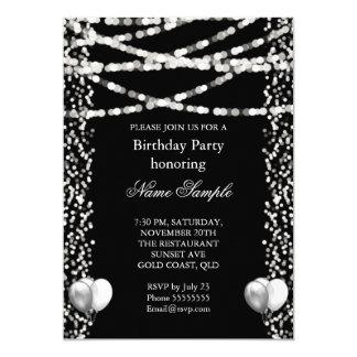 Glitter Faux Foil Silver Balloons Black Birthday 13 Cm X 18 Cm Invitation Card