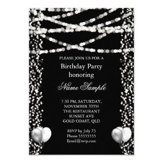 Glitter Faux Foil Silver Balloons Black Birthday Card