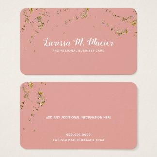 glitter (faux gold dots) + handwritten name pink business card