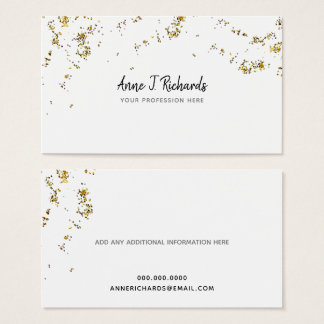 glitter (faux gold dots) with handwritten name business card