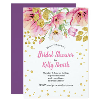 glitter floral bridal shower invitation, gold card