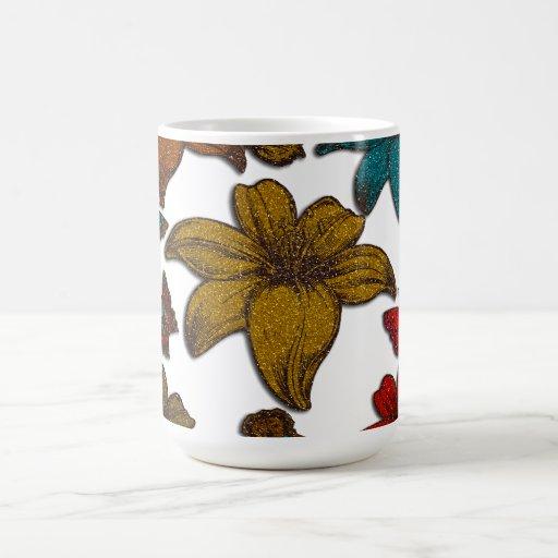 Glitter Flowers Coffee Mugs