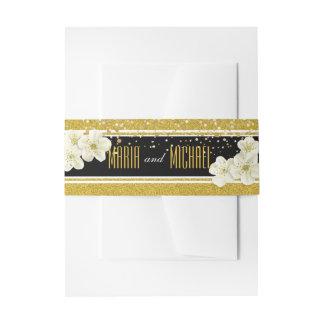 Glitter Flowers Wedding Stationery Invitation Belly Band
