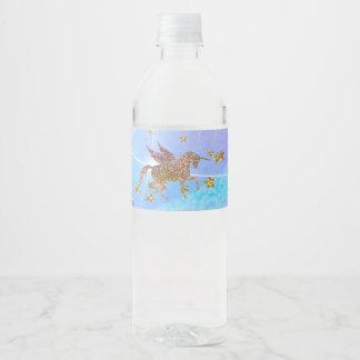 Glitter Flying Unicorn Magical Birthday Party Water Bottle Label