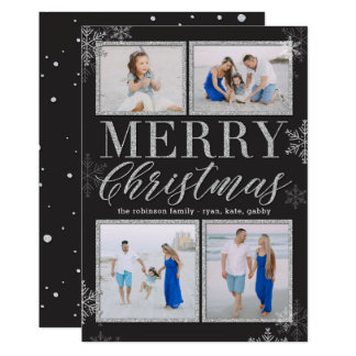 Glitter Frames EDITABLE COLOR Holiday Photo Card