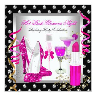 Glitter Glamour Night Pink Silver Birthday Party 13 Cm X 13 Cm Square Invitation Card