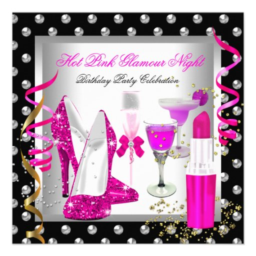 Glitter Glamour Night Pink Silver Birthday Party Personalized Announcements