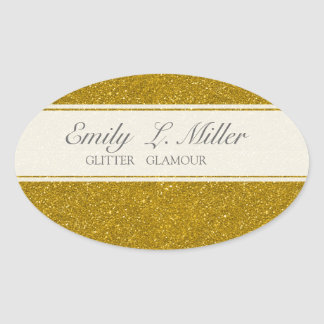 Glitter Glamour Oval Sticker