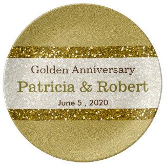 Glitter Gold 50th Wedding Anniversary Keepsake Porcelain Plates