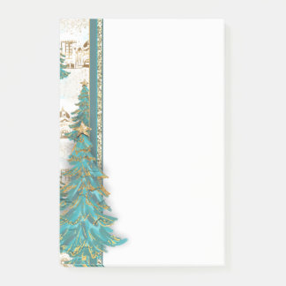 Glitter Gold and Green Border with Christmas Trees Post-it Notes
