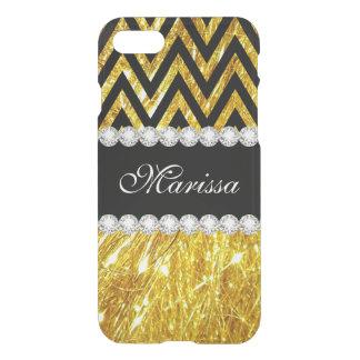 Glitter Gold Black Chevron Stripes Uncommon iPhone 8/7 Case