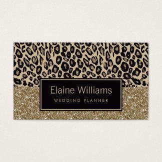 glitter gold black Leopard print chic Cards