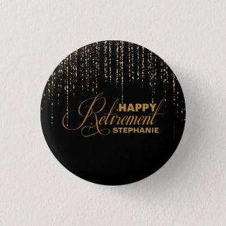 Glitter, Gold & Black Retirement Party Favor 3 Cm Round Badge