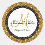 Glitter Gold Black Wedding Monogram Seals Sticker