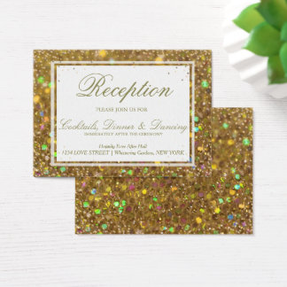 Glitter Gold Glam Reception Cards