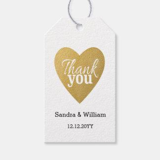 Glitter Gold Heart Wedding Thank You