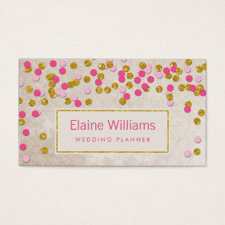 glitter gold pink confetti modern Business Cards
