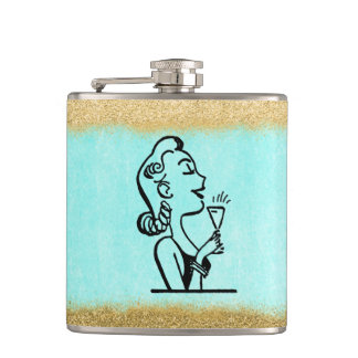 Glitter Gold Retro Woman Bridesmaid Gift Hip Flask