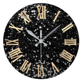 Glitter Gold Roman Numbers Silver Black Gray Large Clock