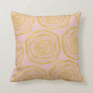 Glitter gold roses on powder pink cushion