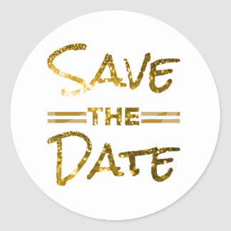 Glitter Gold Save the Date Seal Round Sticker
