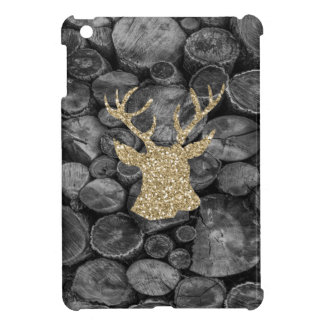 Glitter Gold Stag Head with Logs iPad Mini Case