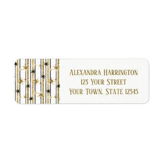 Glitter Gold Stripes with Stars Return Address Label
