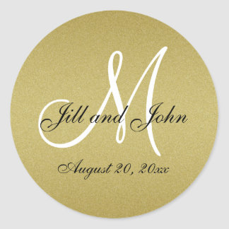 Glitter Gold Wedding Monogram Seals Sticker