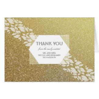 Glitter Gold Wedding Thank You Card