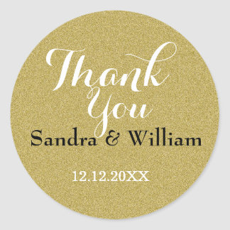 Glitter Gold Wedding Thank You Seals Round Sticker