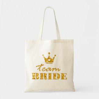Glitter Golden Team Bride Budget Tote Bag