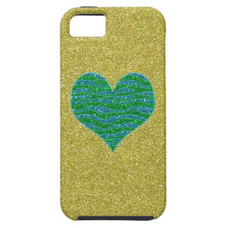 Glitter Green Heart on Gold Glitter Background iPhone 5 Covers