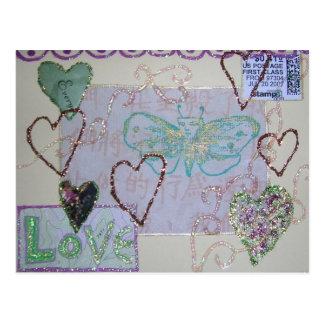 Glitter Heart Love collage Postcard