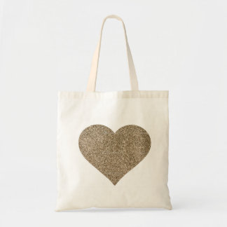 Glitter Heart Wedding Tote Bag