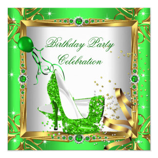 """Glitter High Heel Shoes Lime Green Gold Party 5.25"""" Square Invitation Card"""