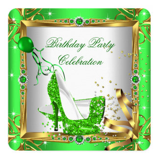 Glitter High Heel Shoes Lime Green Gold Party 5.25x5.25 Square Paper Invitation Card