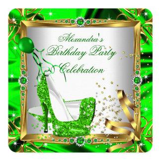 Glitter High Heel Shoes Lime Green Gold Silk 13 Cm X 13 Cm Square Invitation Card