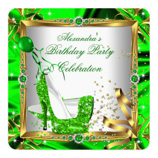 """Glitter High Heel Shoes Lime Green Gold Silk 5.25"""" Square Invitation Card"""