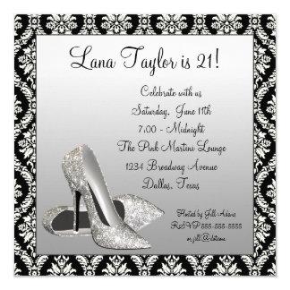 Glitter High Heels Black Damask Birthday Party Card