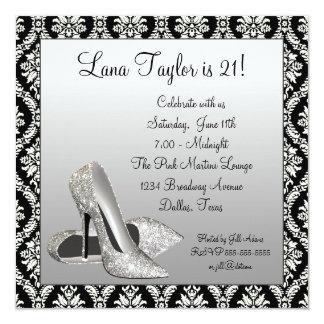 Glitter High Heels Black Damask Birthday Party Custom Announcements