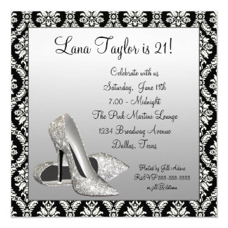 Glitter High Heels Black Damask Birthday Party Custom Announcements