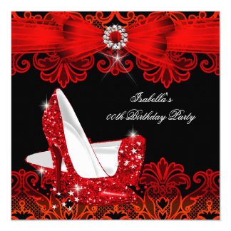 Glitter High Heels Red Lace Diamond Stiletto Shoe 13 Cm X 13 Cm Square Invitation Card