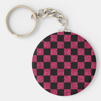 Glitter hot pink and black checkered pattern key chains