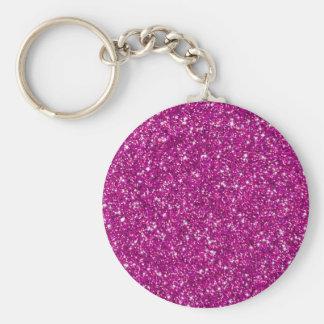 Glitter,hot pink,girly,trendy,fun,modern,cute,teen basic round button keychain