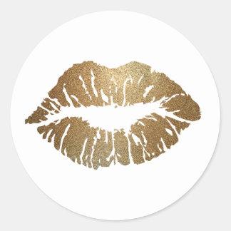 Glitter Kiss Lipstick Love Classic Round Sticker