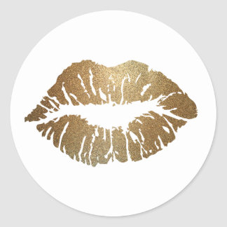 Glitter Kiss Lipstick Love Round Sticker