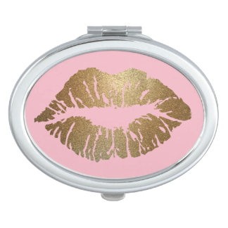Glitter Kiss Pink Compact Mirror Oval